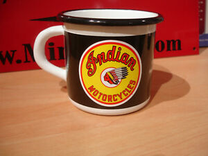 PLAQUE EMAILLEE TASSE mug INDIAN MOTORCYCLES MOTO  enameled COFFEE CUP EMAIL