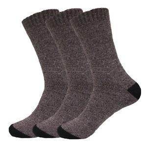 6 Pairs Men's Boot Crew Herringbone Socks Warm Cotton Polyester For Winter