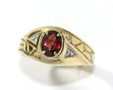 Mens 10K YELLOW GOLD, ~1 Carat Garnet Ring: SIZE 9.75, 3.2 Grams