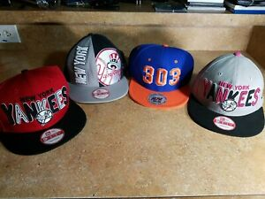(4) New Era 9Fifty New York Yankees Snapback Baseball Cap, 303 Hat (PINK/ BLACK!