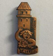 Tallinn Estonia Lapel Pin - Vintage Copper Sauna Torn Gulf Of Finland Hat Pin