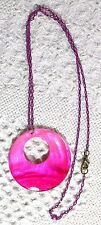 """Pink Mother of Pearl (MOP) Pendant & Pink chain liink 23"""" Necklace"""