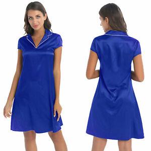 Women's Soft Silky Satin Turn-Down Collar Shirt Dress Gown Nightdress Sleepwear