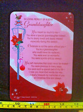 In Loving Memory Of A Dear Granddaughter Christmas Poem Plastic Gift Card New