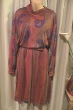 VINTAGE  80'S  ~ HARDOB ~ Paisley Print/Lined  DRESS/Belt * Size 18 *