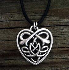 Argento anticato PLT Celtic knotwork Collana con pendente cuore Viking OUTLANDER