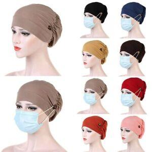 Women Button Muslim Hijab Stretchy Hat Turban Cross Head Wrap Bandana Scarf Caps