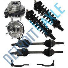 2 Front Wheel Hub & Bearings + 2 Complete Struts + 2 CV Axles + 2 Tie Rods AWD