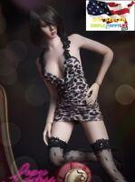 "1/6 straps Leopard print mini dress for 12"" female figure Phicen Hot Toys ❶USA❶"