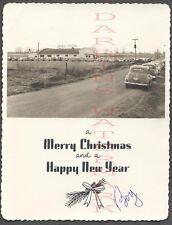 Vintage Photo Turf Club Road House 1940s Cars on Holiday Christmas Card 686758