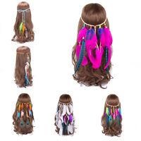 Women's Feather Headband Festival Headdress Indian Hippy Gypsy Boho Hairband