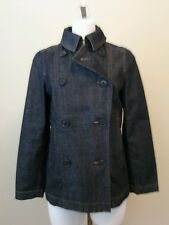 GAP Womens Double Breasted Dark Wash Denim Jean Jacket Size Small