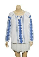 Sezane Embroidered Blouse Top M 40 Women's Casual Long Sleeve Ivory NEW 16521