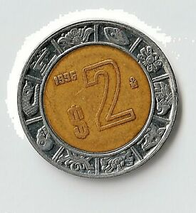 1996 2 Pesos Mexico KM#604 XF/AU Bi-Metallic Coin Ex. Lambagh Collection