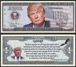 DONALD TRUMP 🤴 Presidential Million Bill ~ Fantasy Note 🤴🤴 45th President