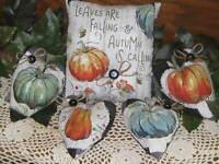 Fall Decor Pumpkin Shelf Sitter 4 Hearts Bowl Fillers Wreath Accents Farmhouse