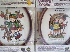 2 Vintage 1970s Hummel Stitchery Gallery Crafts Diy kits Umbrella, AppleTree