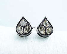 Silver Diamond Earrings Victorian Jewelry Natural Diamond Polki & 925 Sterling