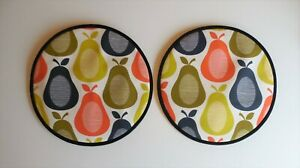 Magnetic Aga covers. Set of 2 with loops or magnets. Orla Kiely retro Pears