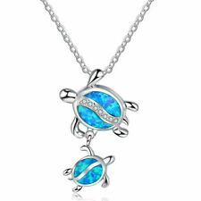 Women Mother and Baby Turtle Blue Opal Rhinestone Pendant Silver Plated Necklace