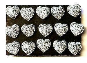 SILVER GLITTER HEARTS Thumb Tacks  - Set of 15 Handmade Decorative Push Pins