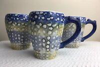 Cracker Barrel Sea Shell Nautical Coffee Tea Mug Cup Blue Textured Lot 3 HTF