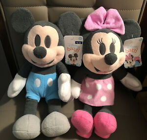 """DISNEY BABY MICKEY MOUSE & MINNIE MOUSE PASTEL PLUSHIES NEW NWT 14"""""""