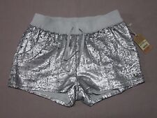 TRUE RELIGION WOMENS SEQUIN RUNNER SHORTS PALE AGAVE SILVER SHORTS SIZE LARGE