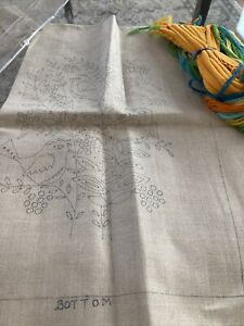 Vintage Bucilla Crewel Embroidery Kit 1 Pillow Birds Flower
