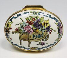 "Halcyon Days English Enamels ""A Year to Remember 1982"" Floral Trinket Box"