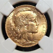 France: Republic gold 20 Francs 1910 MS65 NGC.