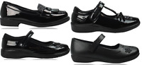 Girls Black School Shoe PU Leather Hook & Loop Dress Formal Easy On UK Sizes 8-5
