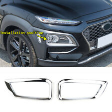 For Hyundai Kona 2017-2019 Chrome Front Fog Light Lamp Cover Trim Bumper Molding