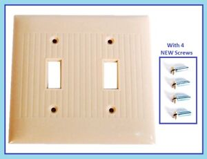 MINT Vintage Ribbed IVORY Bakelite 2 Switch Wall Plate Cover MCM 1950s + Screws