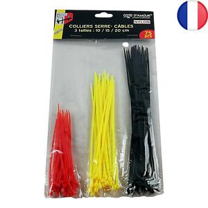 75 X Colliers Serre Câble Attache Corde Boucle en Nylon Fil 10 15 et 20 cm