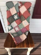 PriMiTive Rag Quilt Throw Red Green Patchwork Stars Christmas Farmhouse Queen