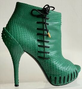 Versace platform ankle boots Eur 39 (US 8,5) Rare Python leather Authentic $1800