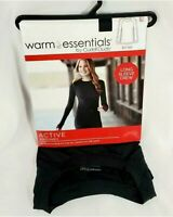 Cuddl Duds Warm Essentials Thermal Active Long Sleeve Crew Top Black Womens NWT