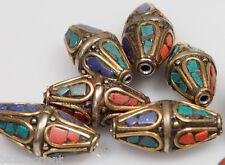 5 X tibetische Korallen Türkis Perlen Tibet Nepal Turquoise Coral brass Beads -N