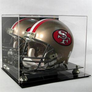 Football Helmet Display Case Black Base Gold Risers  NFL NCAA 100% UV Mirror
