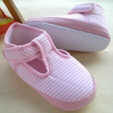 Baby Girl Pink n White Strips T-bar Cotton Shoes 6-12 Months Size 4