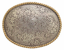 Western Decor Antique Silver Plated Gold Rope Border Engraved Buckle