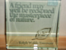 SPACEFORM FRIEND LARGE GLASS TEXT TOKEN PAPERWEIGHT ~ 14.99P NO RESERVE UNWANTED