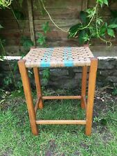 Vintage/Retro Wooden Stool with Rush Seat
