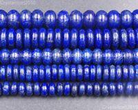 "Natural Lapis Lazuli Gemstone Rondelle Spacer Beads 4mm 5mm 6mm 8mm 10mm 15.5"""