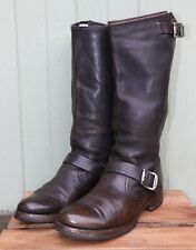 Frye Brown Leather Mid Calf Buckle Strap Motorcycle Boots Women's SZ 8.5B