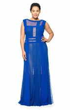 NWT TADASHI SHOJI  evening gown purple lace full length blue nude plus size 16Q
