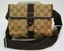 Auth Gucci GG Canvas Monogram Waist Belt Bum Bag Fanny Pack Brown 1013a