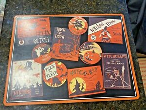 Pottery Barn Vintage  Poster Halloween cork Board Placemat 1 PC