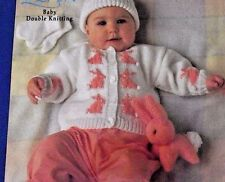 ADORABLE BABY'S BUNNY MOTIF CARDIGAN & MITTENS, HAT & TOY DK KNITTING PATTERN
